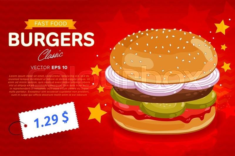 Burger Banner Design Template Fast Food Restaurant Menu Template