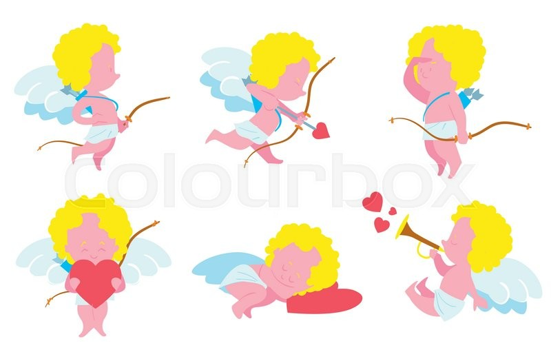 Angels On Valentines Day Set Of Small Cupid With Bows And Arrows