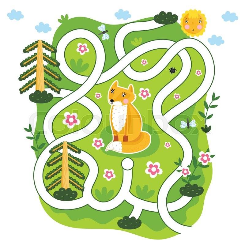 Maze Vector Maze Game Cartoon Maze For Kids Educational