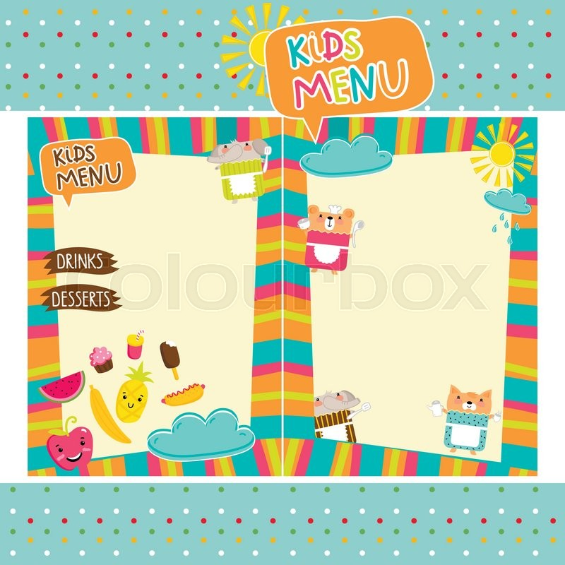 Kids Menu Vector Template, Cartoon Design With Funny
