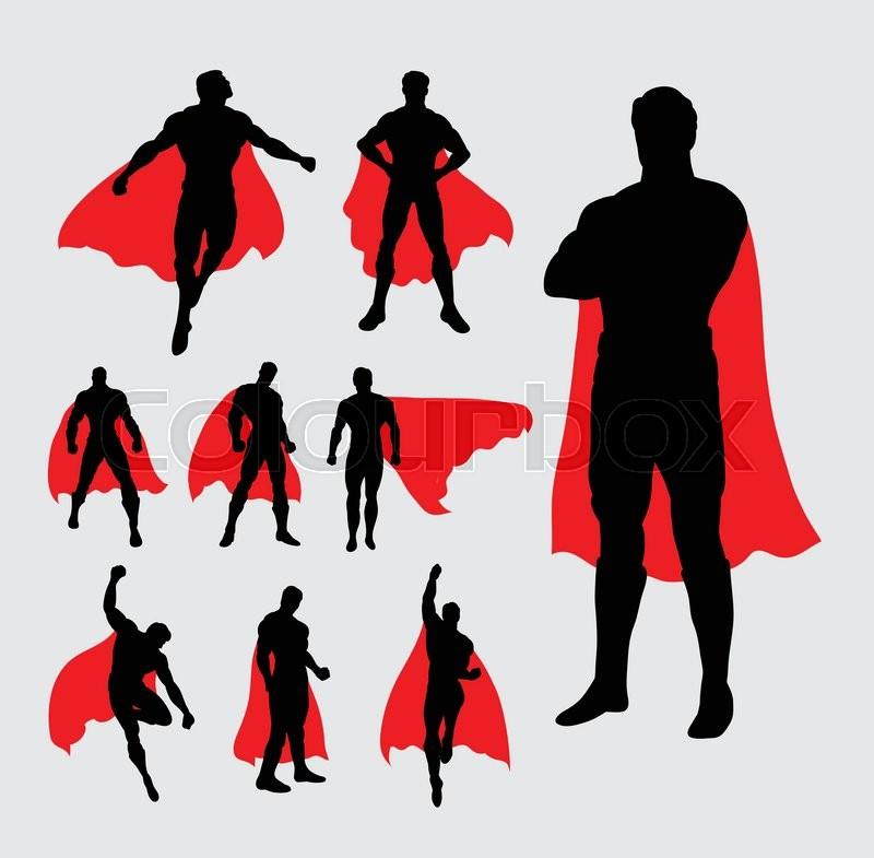 Male superhero pose silhouettes. Good use for symbol, web