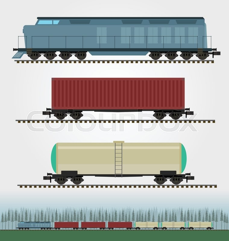 Set Of Freight Train Cargo Cars Stock Vector Colourbox