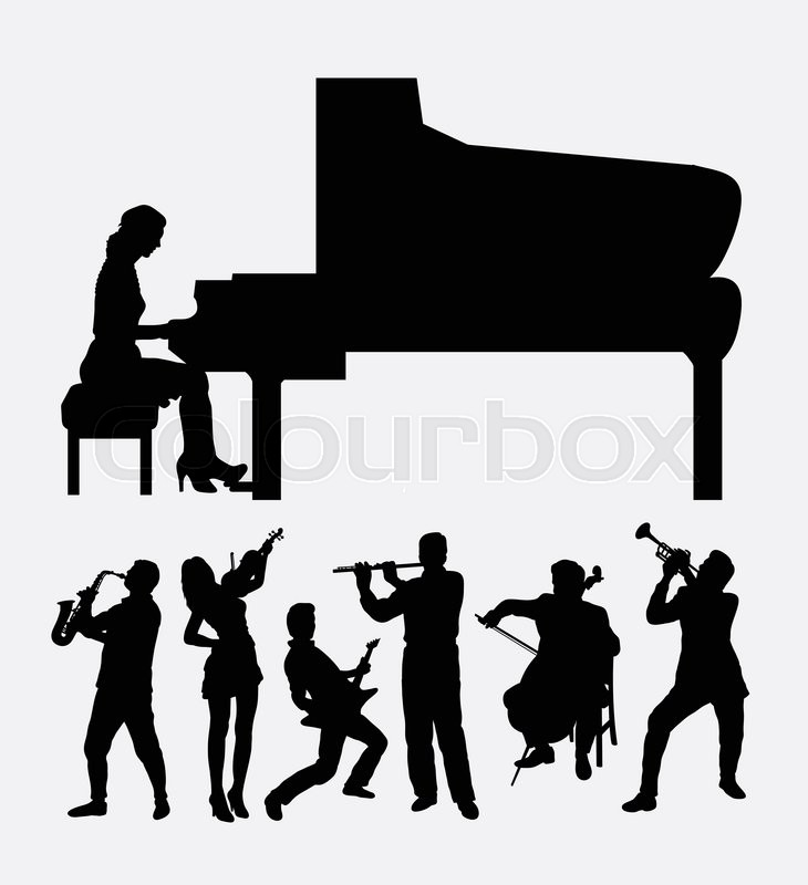Musical Instrument Male And Female Player Good Use For Symbol Icon
