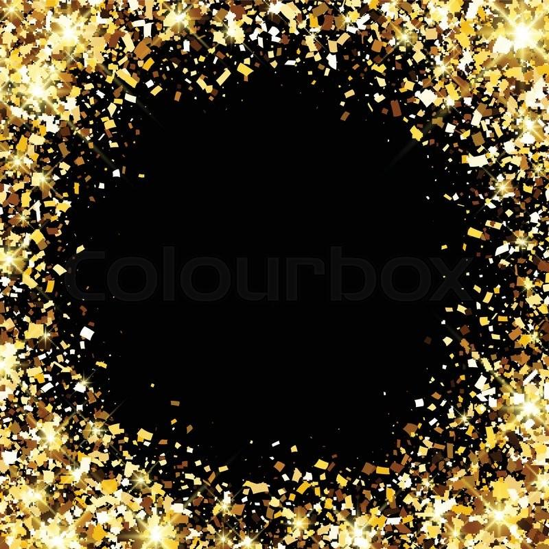 Black festive background with golden confetti. Vector
