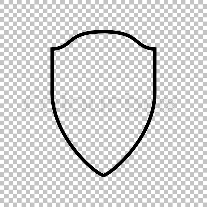 shield sign line icon on transparent background stock vector