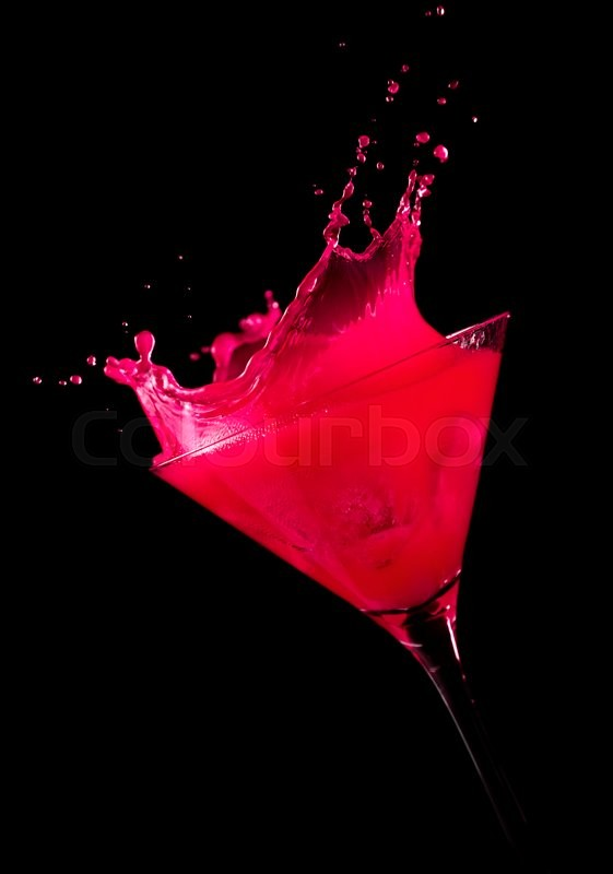 pink drink wallpapers: Ice Cube Making A Splash In Pink Cocktail, Black
