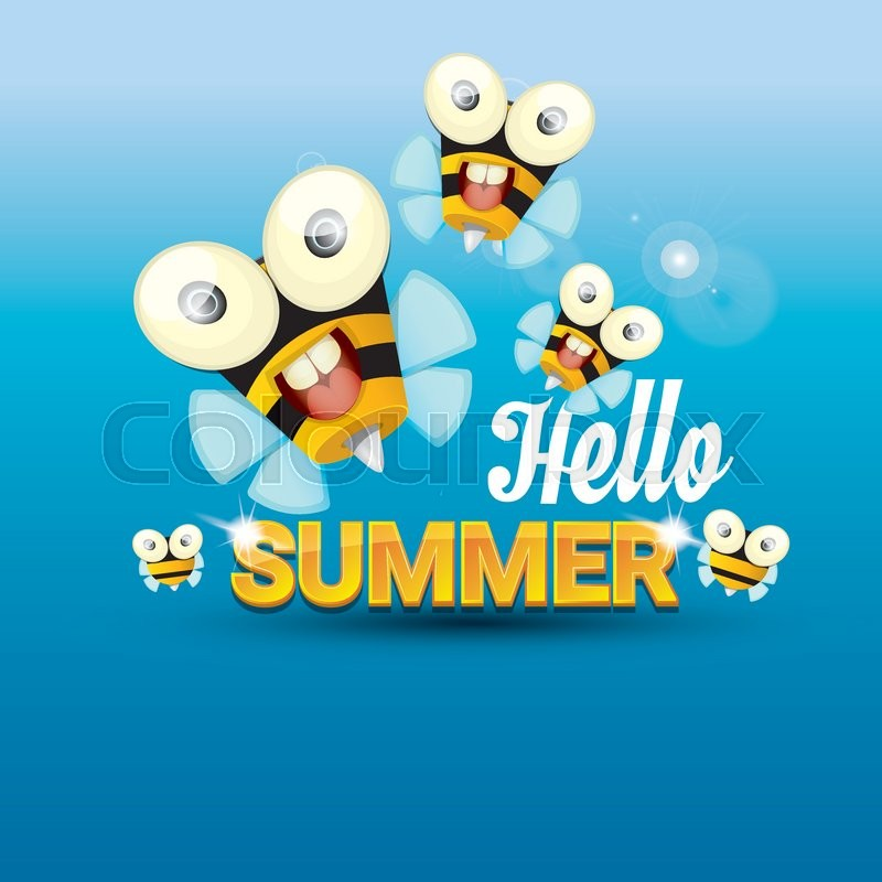 Charmant Hello Summer Vector Background With Sunny Sky And Baby Bee Flying. Kids  Background With Funny Cartoons Bee | Stock Vector | Colourbox