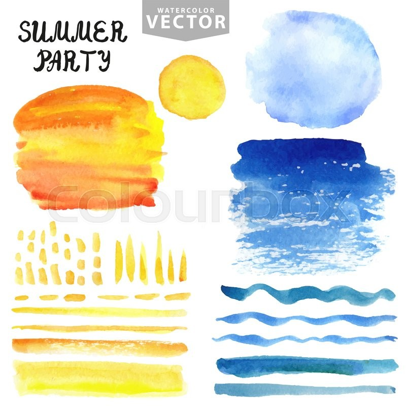 Best Colour For Home Painting >> Watercolor summer texture.Hand painting splash,stains,spot,brushes set. Blue see,ocean wave ...