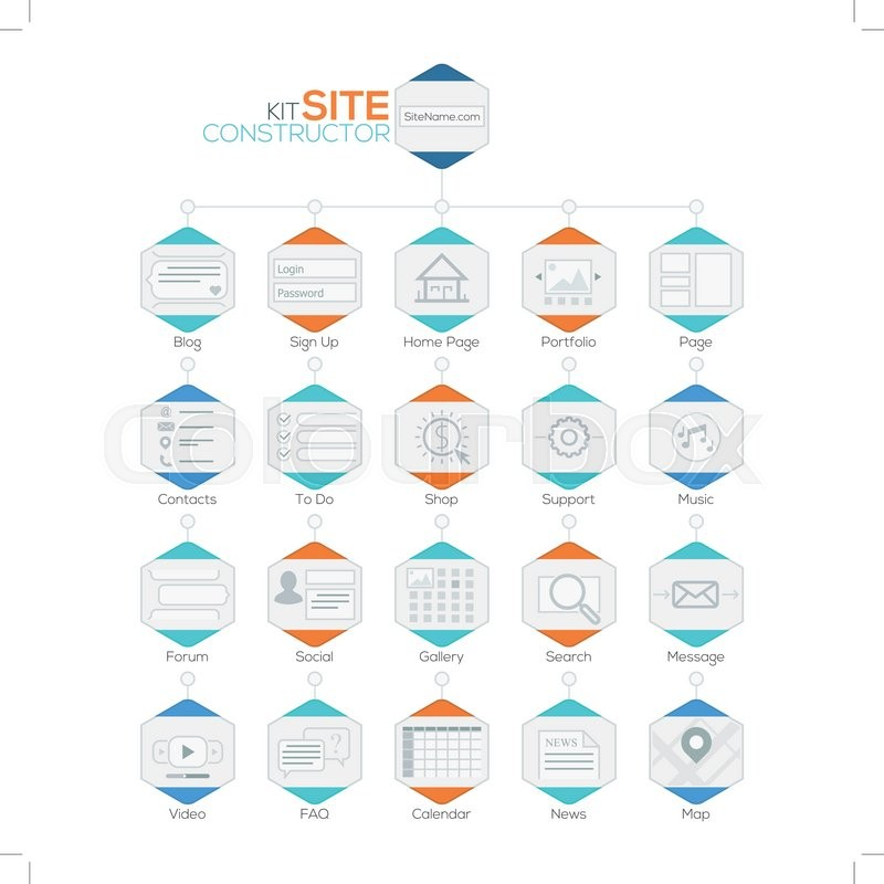 Vector set of flat website templates navigation elements and vector set of flat website templates navigation elements and icons for site map vector can be used for web design presentations brochures and workflow pronofoot35fo Image collections