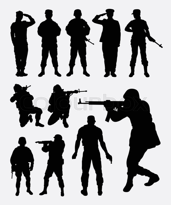 soldier silhouettes good use for symbol logo icon mascot or any