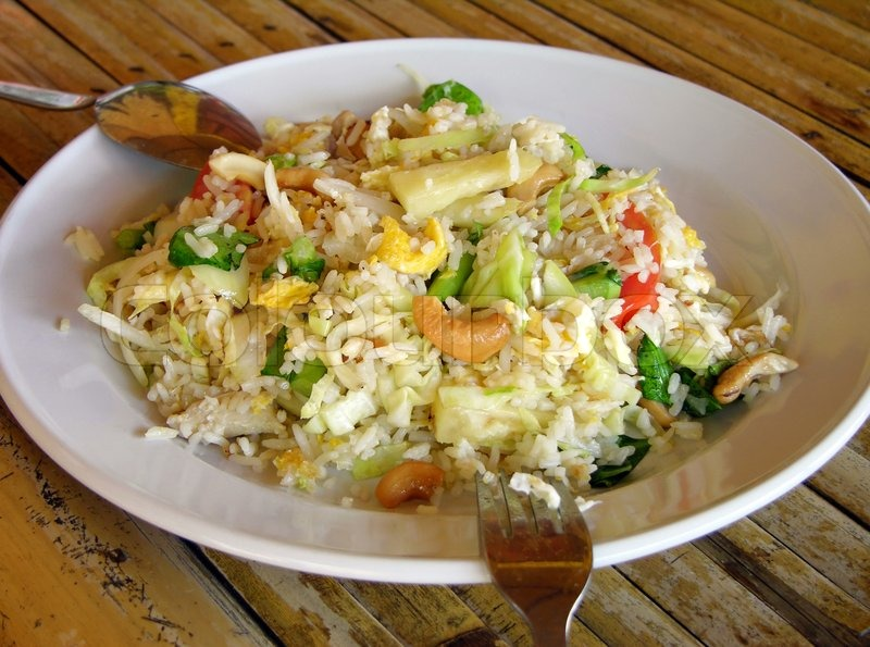 Thai-style fried rice with cashew and pineapple | Stock Photo ...