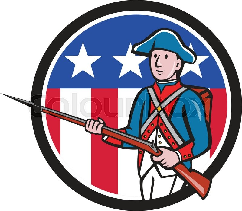 illustration of an american revolutionary soldier minuteman serviceman military with rifle Patriot Soldier Clip Art American Revolution Soldier Clip Art