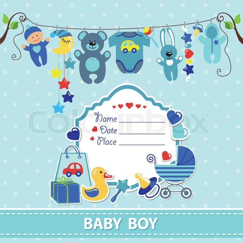 New born baby boy invitation shower cardflat elements hanging on new born baby boy invitation shower cardflat elements hanging on ropelabelstorkctor scrapbook decoreeting pstcardcyan colorspolka dot m4hsunfo