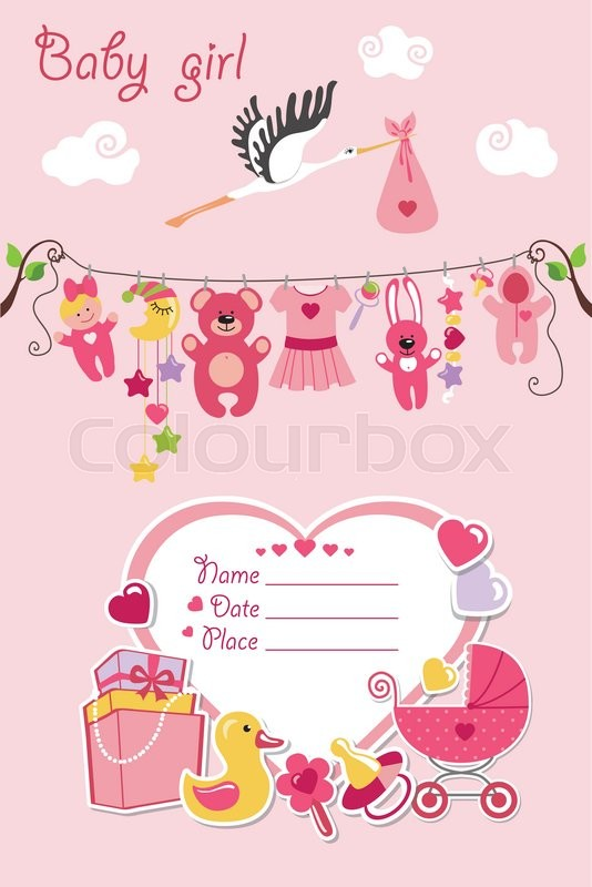 New born baby girl invitation shower cardflat elements hanging on new born baby girl invitation shower cardflat elements hanging on ropelabelstorkctor scrapbook decoreeting potcard colors m4hsunfo