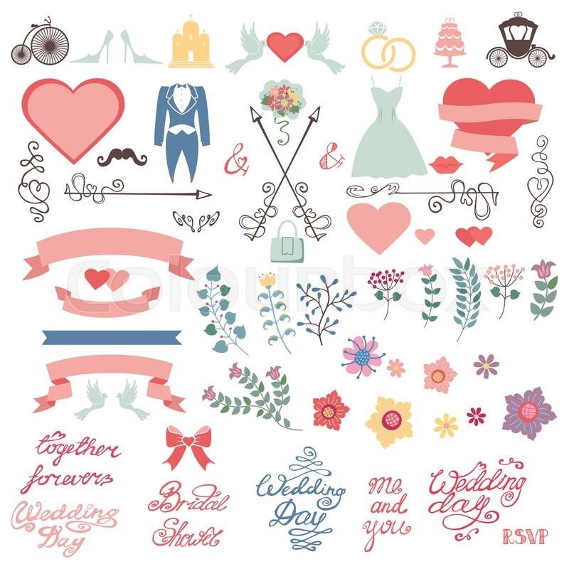 colored flowersflat iconsswirling bordersbrancheswordsdressesvintage vector decor elements set for invitation cardssave datebridal shower stock