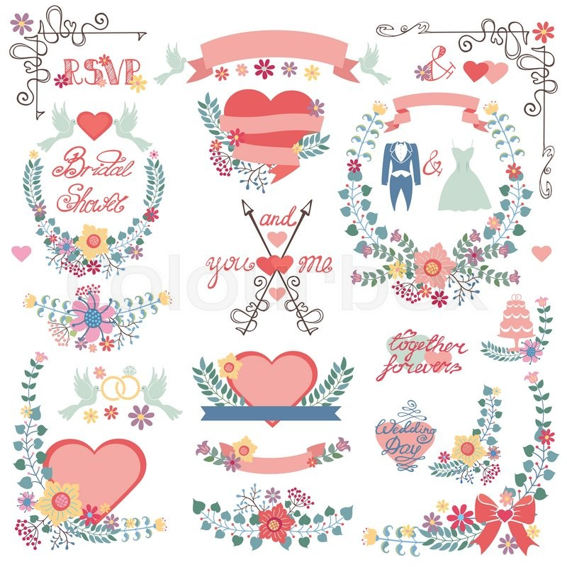 Wedding floral decorationpink heartsribbonslored flowersflat wedding floral decorationpink heartsribbonslored flowersflat iconsswirling bordersbrancheswreathswordsdressesntage vector decor elements set junglespirit Image collections