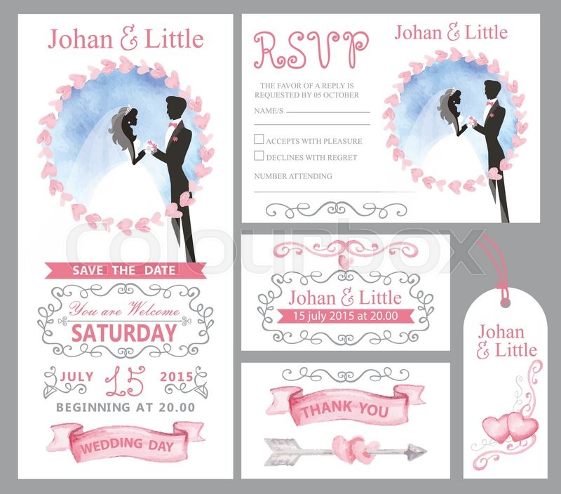watercolor wedding invitation card pink hearts couple bride groom
