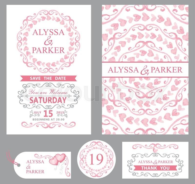 Wedding invitation card setwatercolor pink heartsswirls ribbons stock vector of wedding invitation card setwatercolor pink heartsswirls ribbons stopboris Image collections