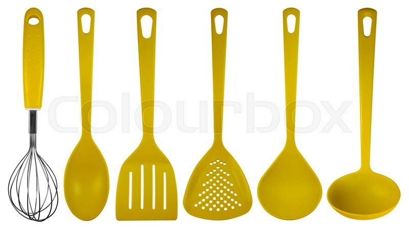 stock image of 39 yellow plastic kitchen utensils isolated on white