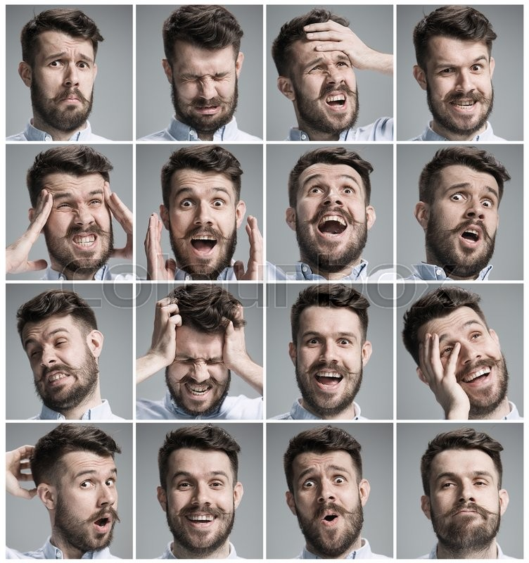 Set of young man\'s portraits with different emotions on gray background, stock photo