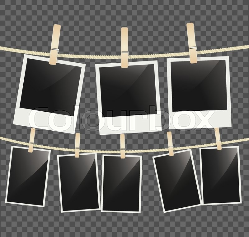 Photo frames hanging on a rope with clothespins. vector | Stock ...
