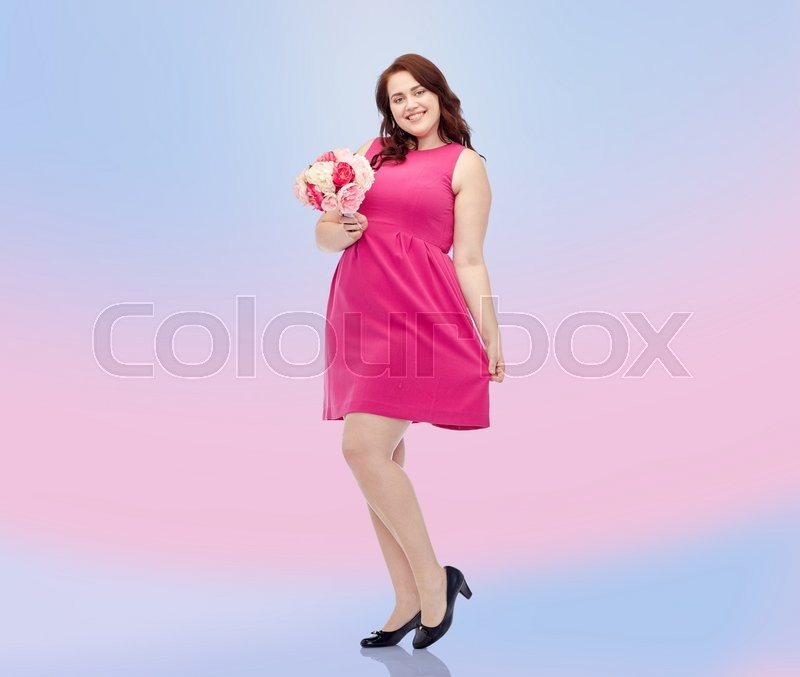 Holidays And People Concept Smiling Happy Young Plus Size Woman