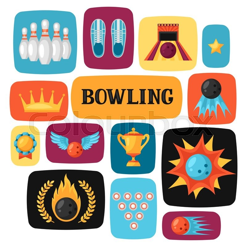 background with bowling items image for advertising booklets