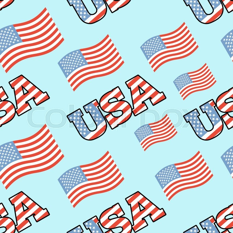 Usa Patriotic Seamless Pattern American Flag Texture Background Of
