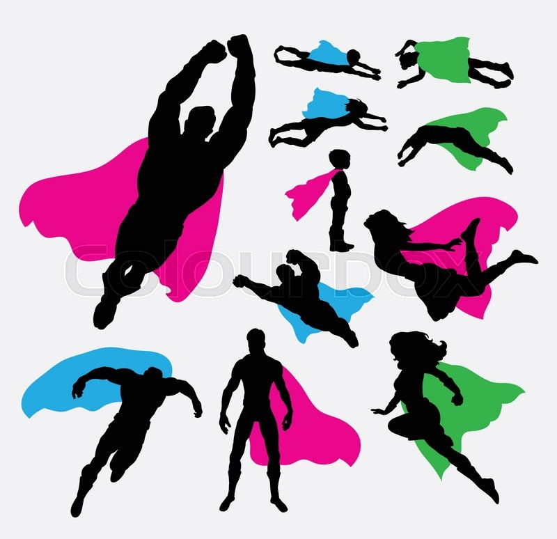 Male And Female Superhero Silhouettes Good Use For Symbol Logo