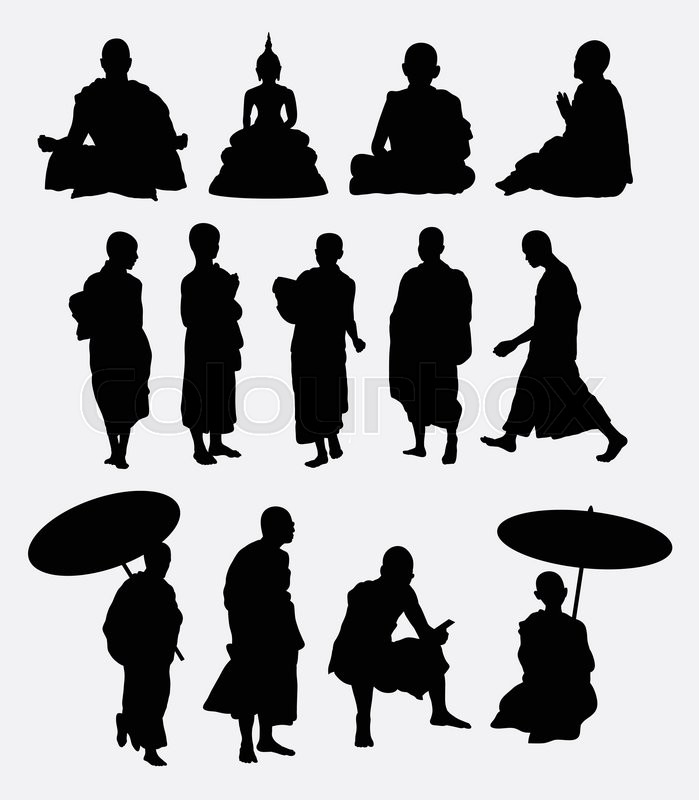 Buddhist Monk Silhouettes Good Use For Symbol Icon Mascot Sign