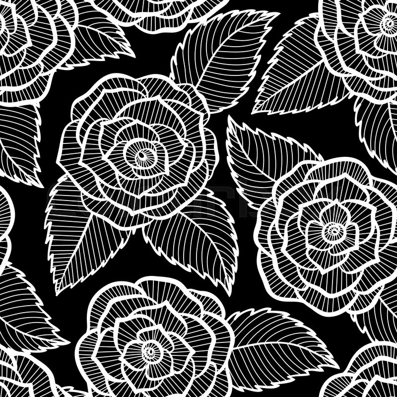 Black Flower Rose From Lace On White Background: Beautiful Seamless Black And White ...