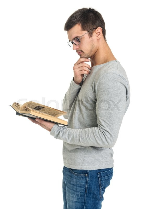 Man Reading Book Side View Isolated On White Stock