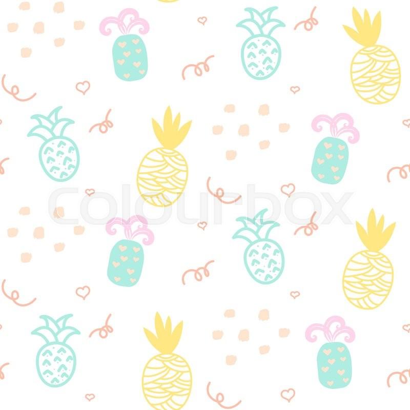 baby pattern pastel pineapple seamless stock vector