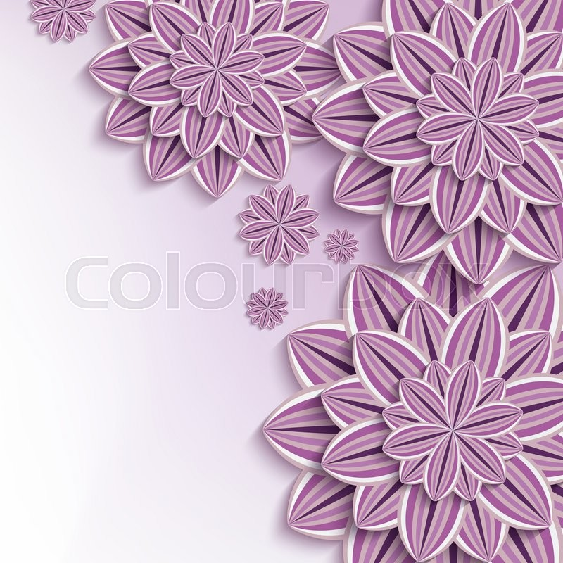 floral elegant background with purple  violet ornate 3d