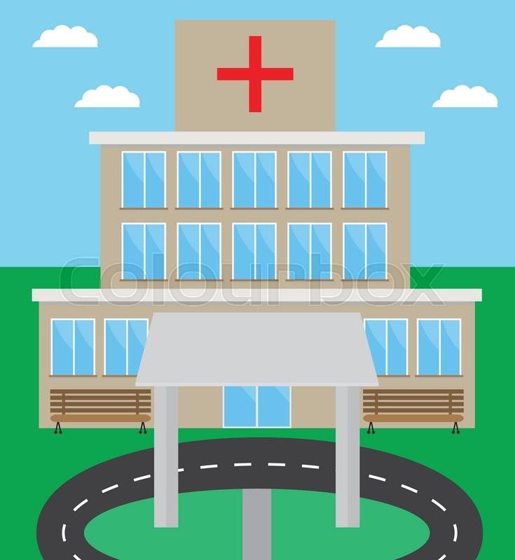 Hospital building design flat        Stock vector   Colourbox