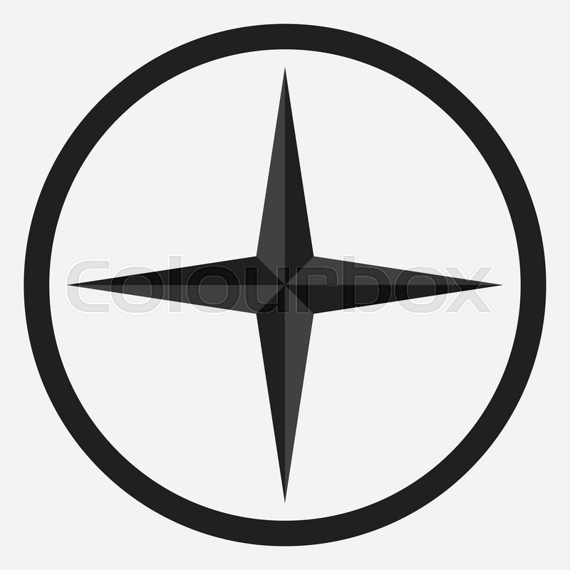 Compass Star Icon Monochrome Black White And Nautical Rose Direction Navigation Vector Abstract Flat Design Illustration