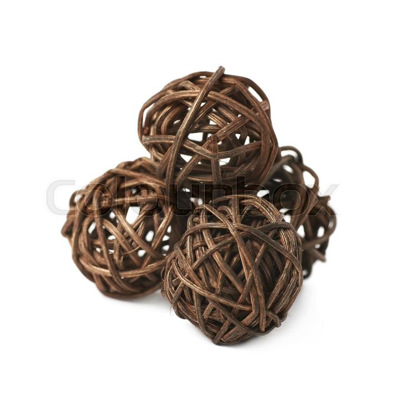Pile of decorative colored straw balls isolated over th