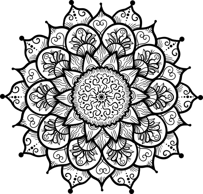 Hand drawn Mandala in arabic, indian, islam and ottoman culture ...