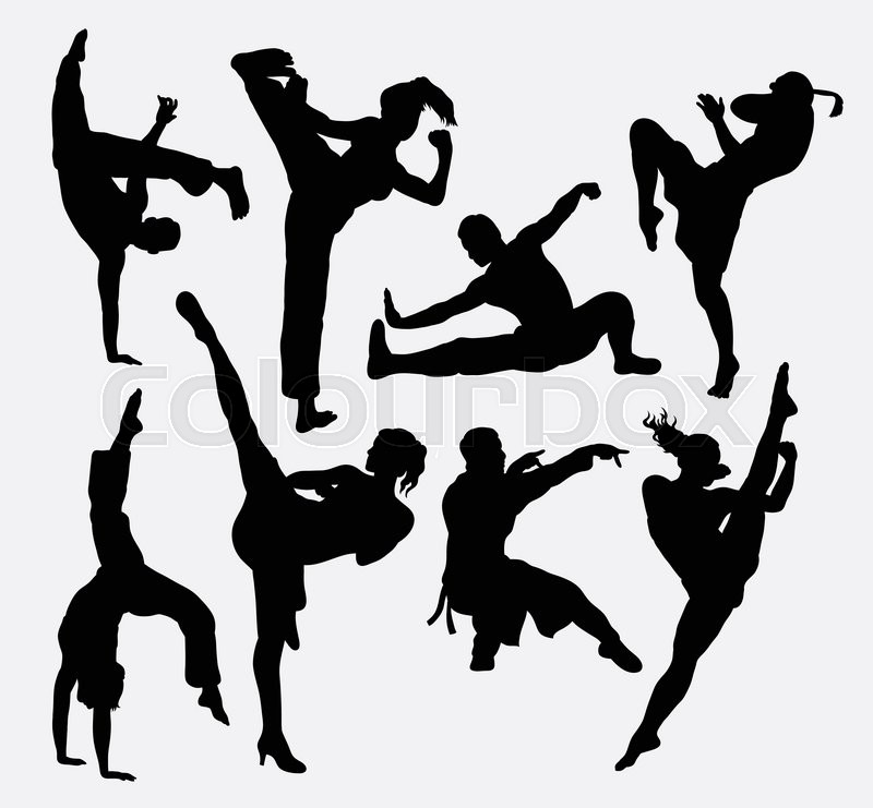 Kungfu Martial Arts Silhouettes Good Stock Vector