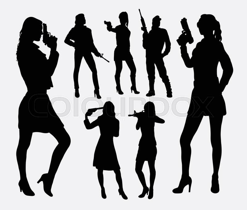 girl with gun silhouettes good use for symbol logo web icon