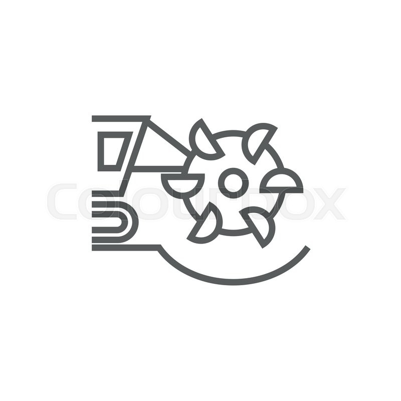Coal Machine With Rotating Cutting Drum Line Icon For Web Mobile And Infographics Vector Dark Grey Isolated On White Background