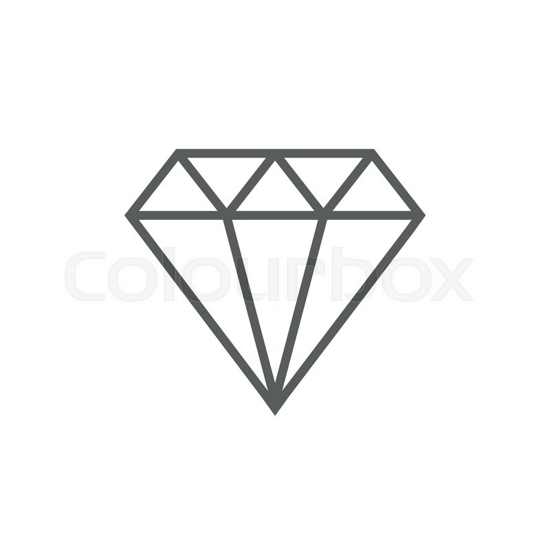 Diamond Thick Line Icon With Pointed Corners And Edges For