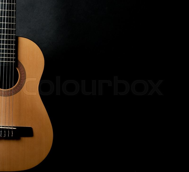 Guitar Wallpaper Hd For Desktop: Half Of A Bright Yellow Acoustic Guitar On A Black