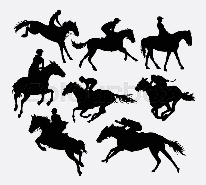 Jockey Riding Horse Silhouettes Good Use For Symbol Logo Web Icon Mascot Or Any Design You Want Easy To Vector