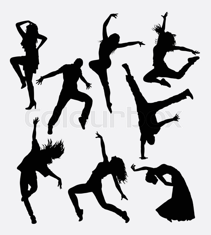 Modern Dance Male And Female Silhouette Good Use For Symbol Web