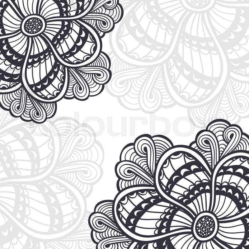 Background With Zen Doodle Or Zen Tangle Flowers Black On