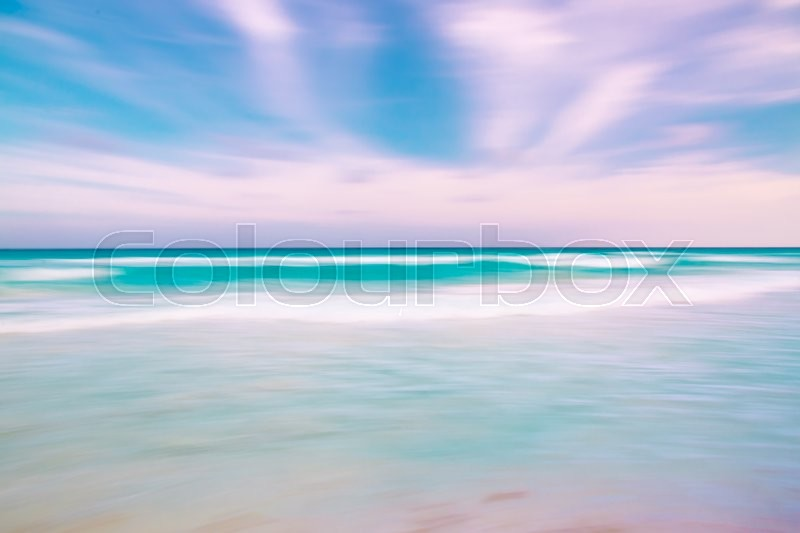 Abstract blur sky and ocean nature background with blurred panning motion, stock photo