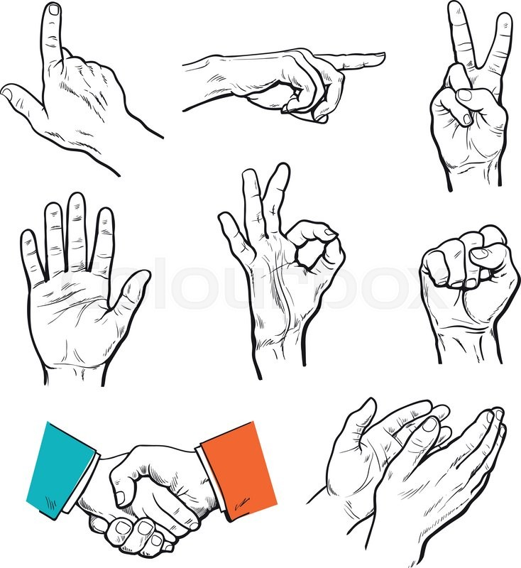 Vector Set Of Hands Icons Of Different Characters Pointing Finger