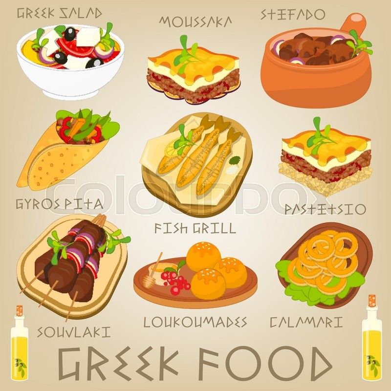 Cuisine Illustration greek traditional food set. greek cuisine. food collection. vector