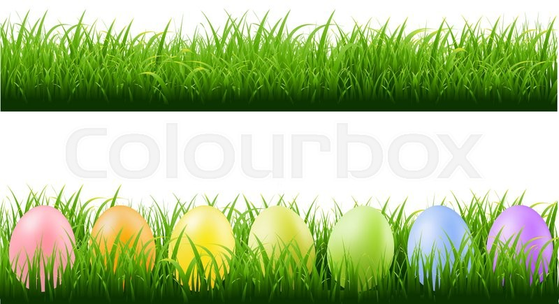 Grass borders with easter eggs with gradient mesh vector for Best grasses for borders